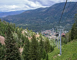 Aspen Mountain (ski area) - View of downtown Aspen from the Silver Queen Gondola on Aspen Mountain
