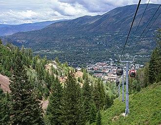 Aspen Mountain (ski area) - View of downtown Aspen from the Silver Queen Gondola on Aspen Mountain