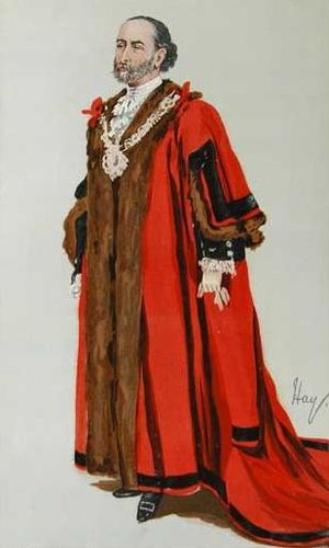 """Sir James Whitehead, 1st Baronet - A caricature of Whitehead in Vanity Fair, 1889. The caption was """"Bonnie Westmoreland""""."""