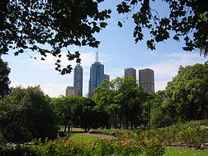 Parks and gardens of Melbourne - The skyline visible from the Royal Botanic Gardens