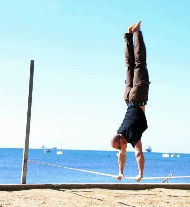Slackline handstand