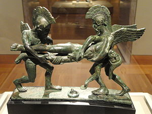 Etruscan art - Bronze cista handle with Sleep and Death Carrying off the Slain Sarpedon, 400–380 BC