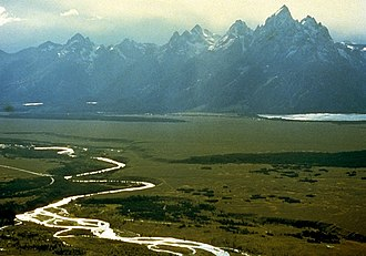 Snake River - The Snake River exits Jackson Lake and winds southwards through Jackson Hole