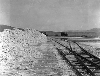 Keeler, California - Soda works at Keeler at Owens Lake, California. Pile of carbonate of soda ready for the marker.