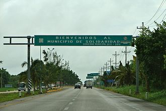 Solidaridad Municipality - Welcome sign over Highway 307