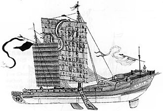 Chinese exploration - A Song Dynasty junk ship, 13th century; Chinese ships of the Song period featured hulls with watertight compartments