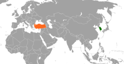 Map indicating locations of South Korea and Turkey