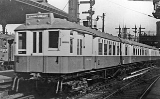 Tyneside Electrics - A 1920-built South Tyneside NER electric unit at Newcastle Central station in 1938.