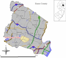 Map of South Orange Village in Essex County. Inset; Location of Essex County highlighted in the State of New Jersey.
