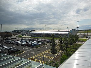 London Southend Airport - Pre-extension terminal building seen from railway station, illustrating proximity.