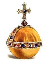 Gold ball with a cross at the top and a band of gems around the equator