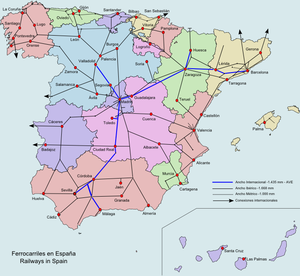 Rail transport in Spain - Image: Spain Railways
