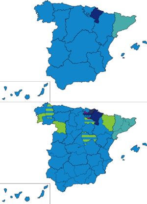 Spanish general election, 1907 - Most voted party by regions and provinces.