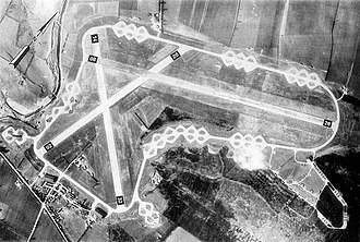 RAF Spanhoe - A virtually empty Spanhoe Airfield - 2 March 1944, taken while most of the 315th Troop Carrier Group's C-47s were on operational missions.   The runway pattern of the airfield was unusual for a Class-A airfield, with the end of the 26 runway being distant from the secondary runways.