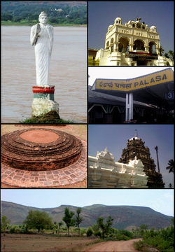 Clockwise from Top Left: Buddha Statue in Nagavali River at Srikakulam, Arasavilli Temple, Palasa Railway station, Srikurmam Temple, Eastern Ghats at Palkonda, Salihundam Buddhist Remains
