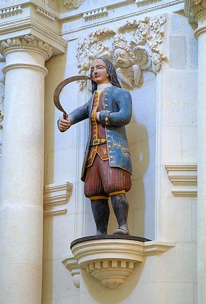 Saint-Gildas-de-Rhuys, abbey-church: statue of Saint Isidore dressed in Britany's traditionnal clothes (Morbihan, France)