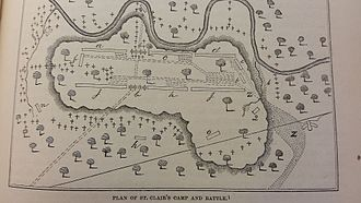 "St. Clair's Defeat - St. Clair's Defeat. a-Butler's Battalion, c-Clarke's Battalion, d-Patterson's Battalion, e-Faulkner's Rifle Company, h-Gaither's Battalion, j-Beddinger's Battalion, crosses indicate the ""enemy"", z-""troops retreating"""