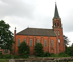 View over the remnants of the former Archabbey towards the Lutheran church St.Marien und Bartholomäi