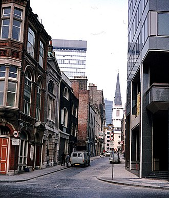 St Mary-at-Hill - View of the street St Mary at Hill, named after the Church, c. 1975