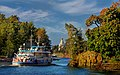 St. Nicholas Skete on island Valaam on Ladoga lake and little ship..jpg