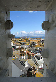 Cottage rooftops seen from the roof of the Tate St Ives