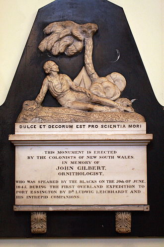 Ludwig Leichhardt - Memorial in St James Church, Sydney to John Gilbert, member of Leichhardt's expedition