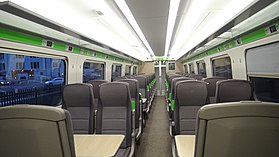 Standard class seats in GWR unit 800009.