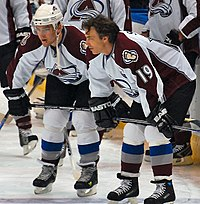 Sakic with Paul Stastny. When Sakic entered the NHL, he was mentored by Peter Šťastný, Paul's father. Since joining the league in 2006, Paul has followed Sakic