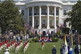 United States military music customs - the fife and drum corps of the 3rd Infantry Regiment passes in review during a state arrival at the White House