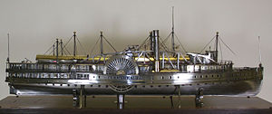 PS Commonwealth (1854) - Model of the steamboat Commonwealth by John Dean Benton, ca 1864, The Mariners' Museum