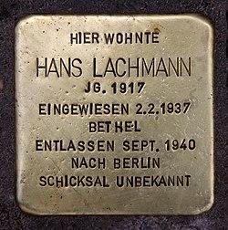 Photo of Hans Lachmann brass plaque