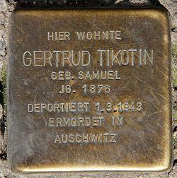 Photo of Gertrud Tikotin brass plaque