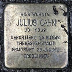 Photo of Julius Cahn brass plaque