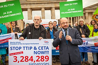 "Transatlantic Trade and Investment Partnership - ""Stop TTIP"" campaigners hand 3,284,289 signatures to Martin Schulz, President of the European Parliament, November 2015."