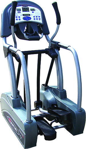 English: Mid drive fluid motion quantum elliptical trainer. A mid drive crosstrainer has the driving cranks centered under the user. A front drive elliptical hsa the driving cranks located at the front of the unit and the rear drive has the cranks at the rear of the unit. Houston Texas.