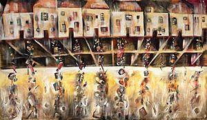 David Breuer-Weil - Suburb 2 (Secret), 2008, oil on canvas, 200 x 344cm part of Project 4
