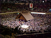 The sumo hall of Ryōgoku in Tokyo during the May, 2001 tournament.