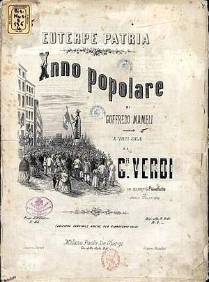 """Suona la tromba - Cover of the score of """"Suona la tromba"""" published in 1865 in the series Euterpe Patria"""