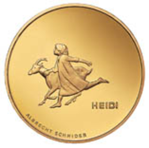 Heidi - Heidi on a CHF 50 Swiss commemorative coin, 2001.