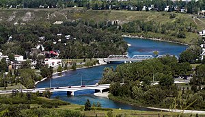 Bow River - The river flows through Bowness, Calgary.