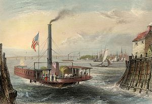 "George Virtue - W. H. Bartlett, ""THE FERRY AT BROOKLYN, NEW YORK."", G. K. Richardson.  London, Published for the Proprietors, by Geo. Virtue, 26, Ivy Lane, 1838."