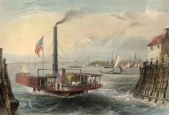 "William Henry Bartlett - W. H. Bartlett, ""THE FERRY AT BROOKLYN, NEW YORK."", G. K. Richardson.  London, Published for the Proprietors, by Geo. Virtue, 26, Ivy Lane, 1838."