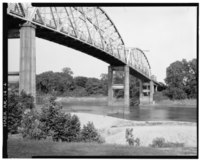 THREE-QUARTER VIEW OF BRIDGE FROM RIVER BANK, LOOKING EAST - Red River Bridge, Spanning Red River at U.S. Highway 82, Garland, Miller County, AR HAER ARK,46-GARCI,1-4.tif
