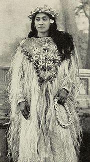 Tahitian woman in festive costume ca 1906