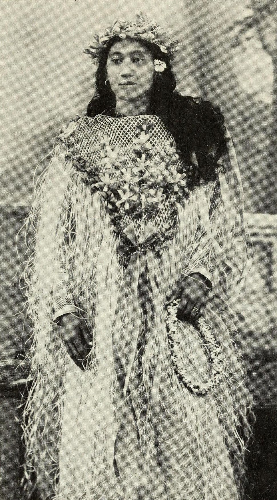 Tahitian woman in festive costume ca 1906