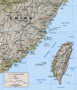 The Taiwan Strait and the island of Taiwan.