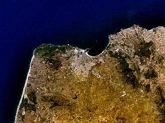 Timeline of Tangier - Satellite view of Tangier, circa 2005