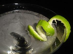English: tanqueray martini: (citrus, gin, mart...