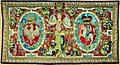 Tapestry with the coats of arms of Poland (White Eagle) and Lithuania (Vytis, Pahonia) and a figure of Victory.jpg