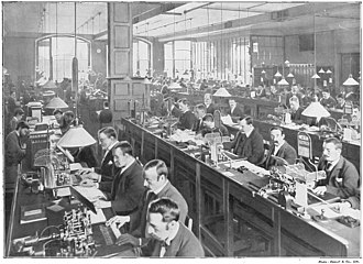 Operators in the submarine telegraph cable room at the GPO's Central Telegraph Office in London c. 1898 Telegraph QE3 19.jpg